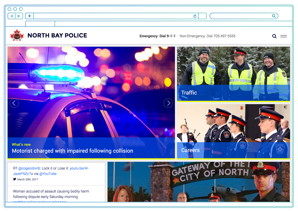 North Bay Police Services website on desktop