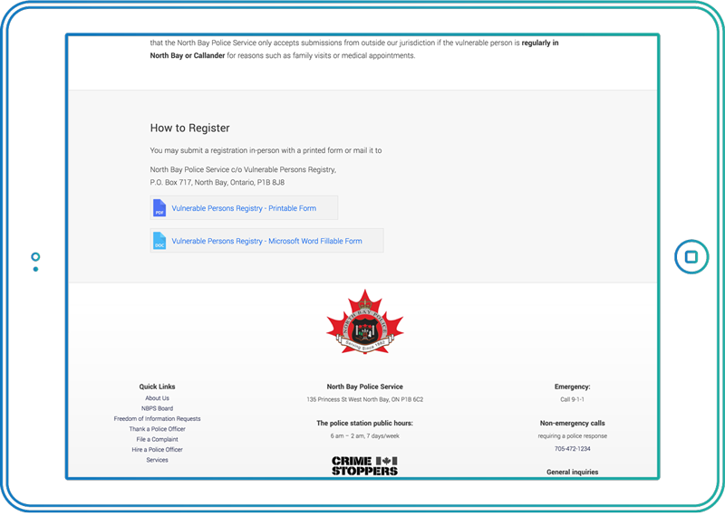 Accessible documents on North Bay Police website