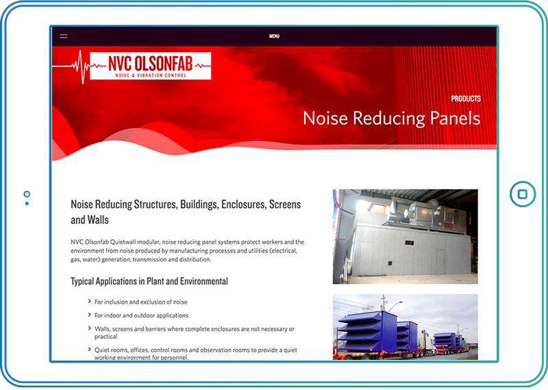 NVC Olsonfab website on tablet